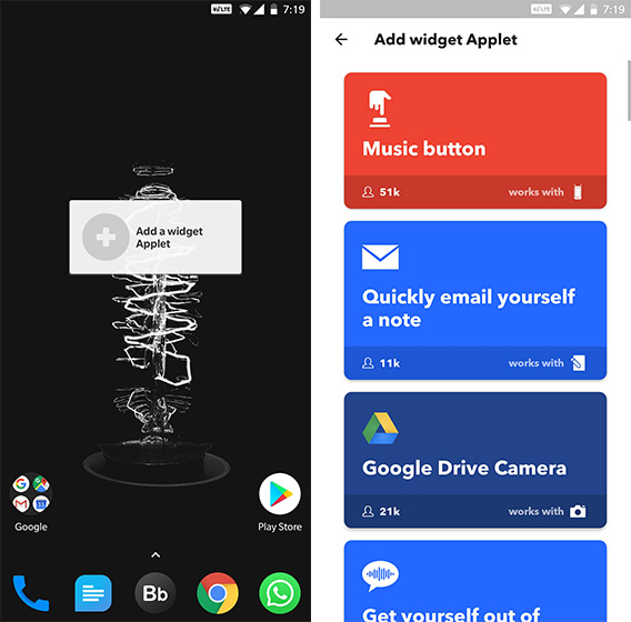 Android Widgets IFTTT