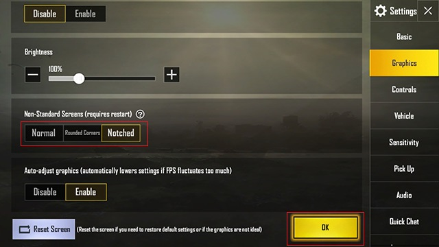 PUBG mobile graphics settings with options for notched screens