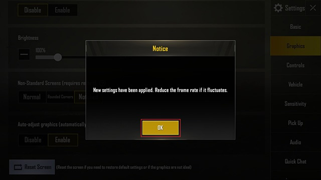 PUBG mobile confirmation pop up