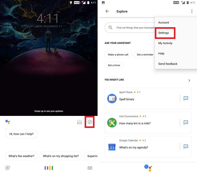 How to Turn Off Google Assistant explore button settings screenshot