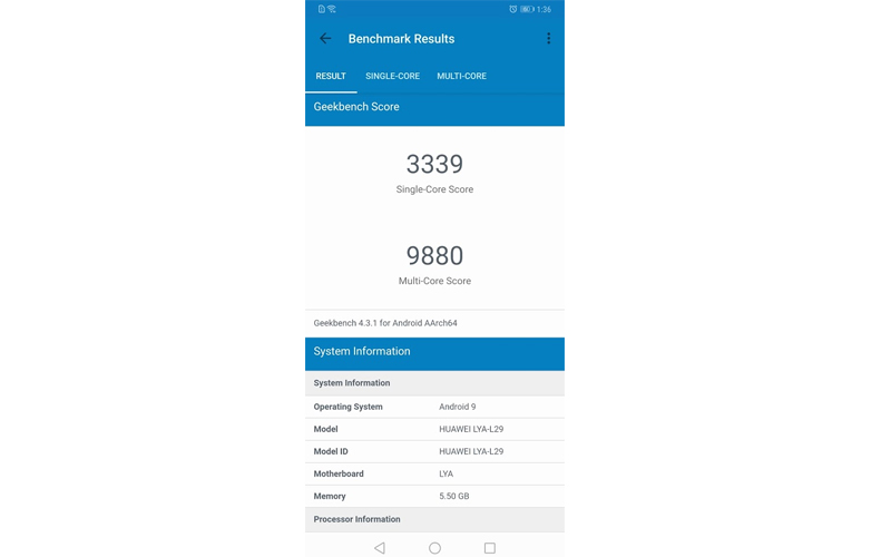 Mate 20 Pro geekbench results