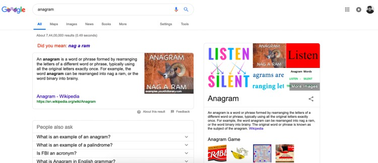 anagram google search