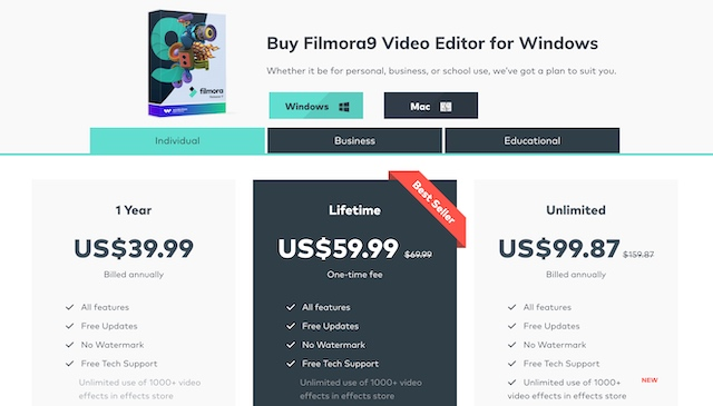 filmora9 pricing screenshot