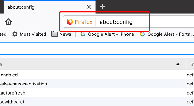 screenshot showing the about:config page in firefox