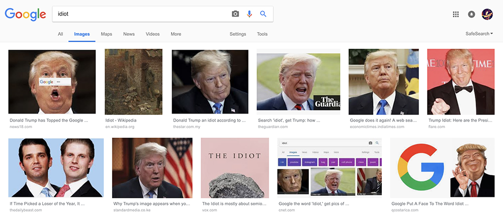 Google search donald trump idiot