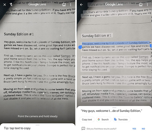 google lens copy text from real world feature screenshot