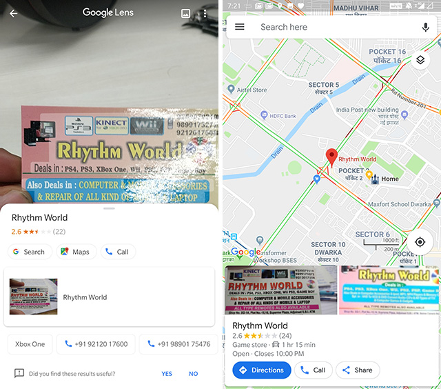 google lens directions to businesses