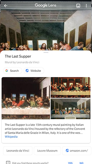 google lens identify paintings objects
