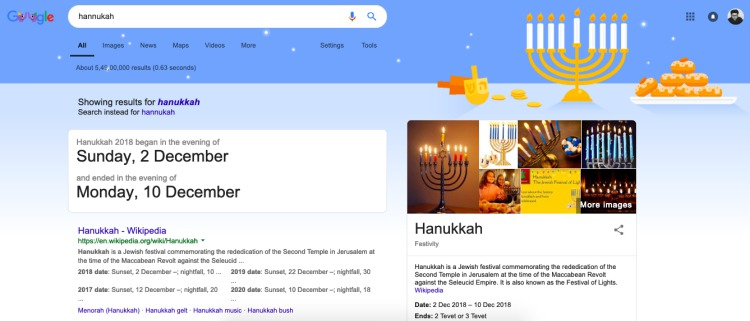 hannukah and christmas google search