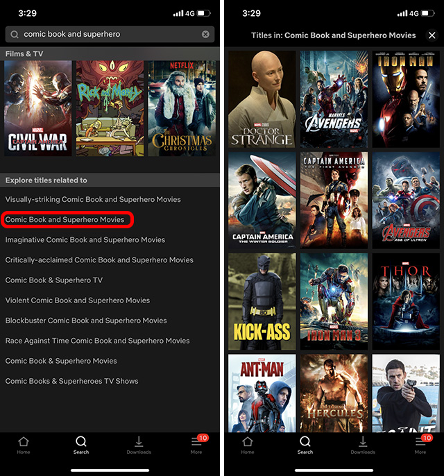 Secret Netflix Codes: Search in Netflix App Step 2