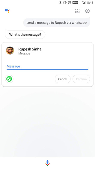 ok google sending message using whatsapp