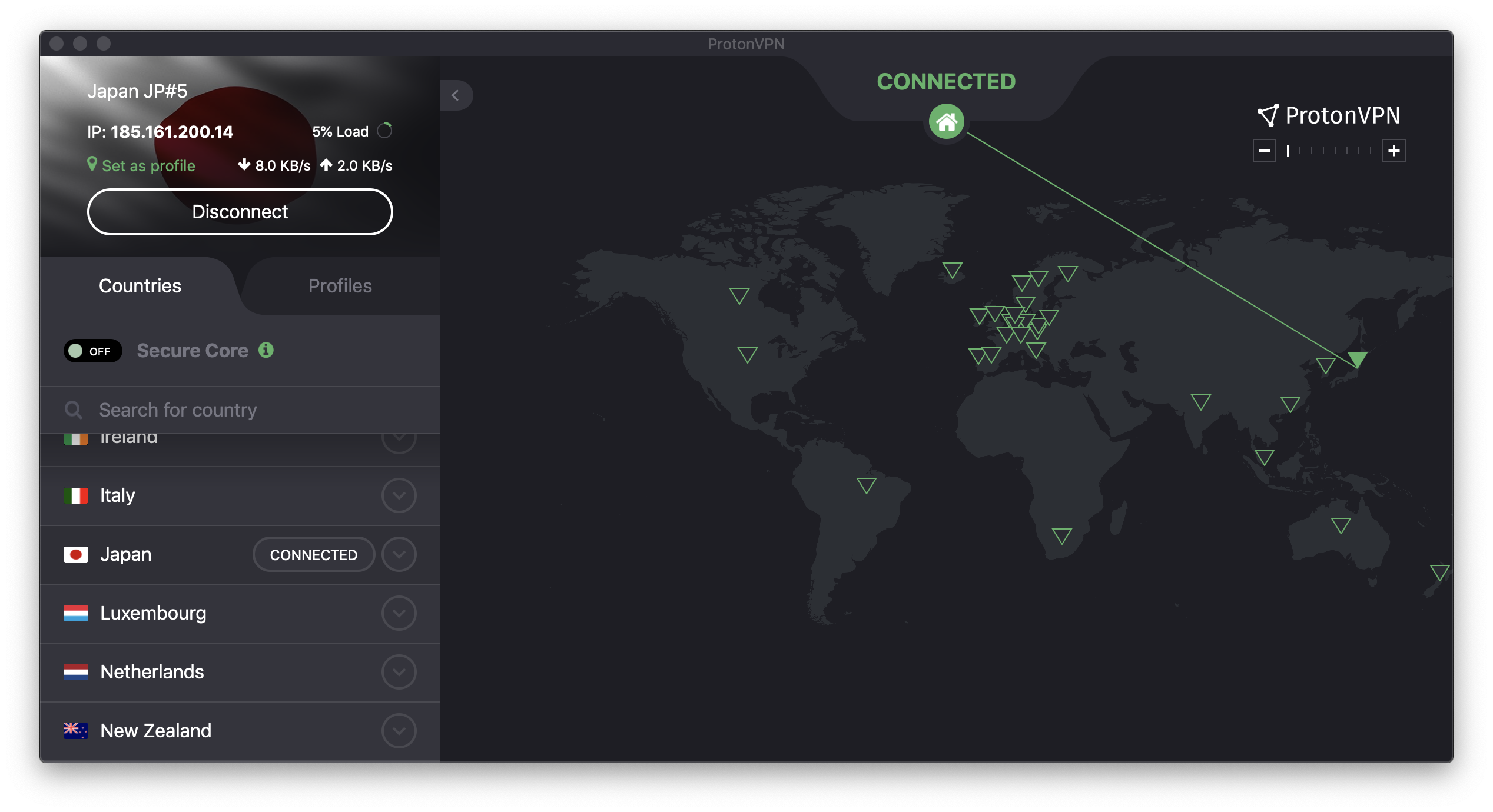 proton vpn screenshot