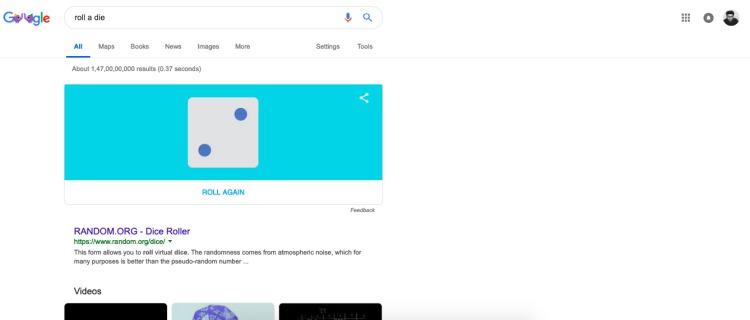 roll a die - google search