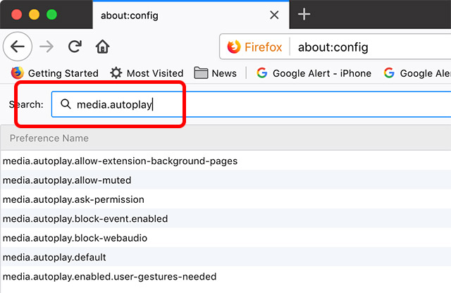 image showing search results for media.autoplay in firefox