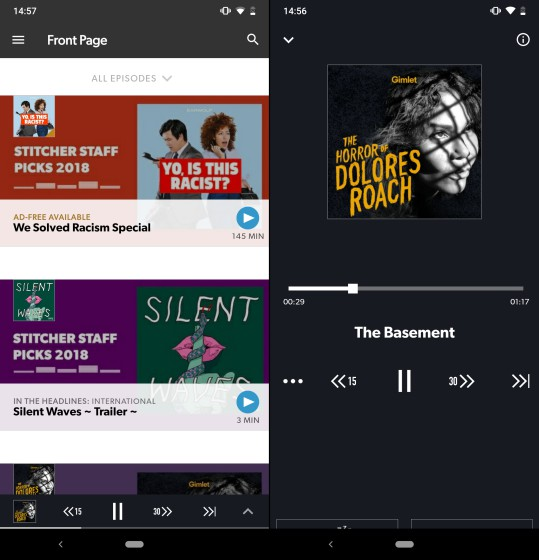 stitcher home screen and now playing screen