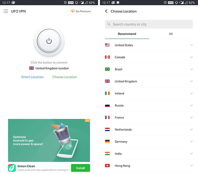 ufo vpn app interface image