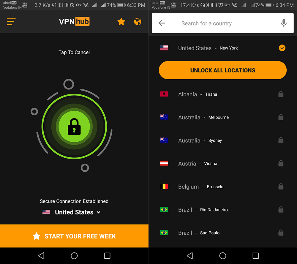 vpnhub screenshot