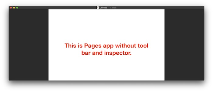 wihtout tool bar and inspector