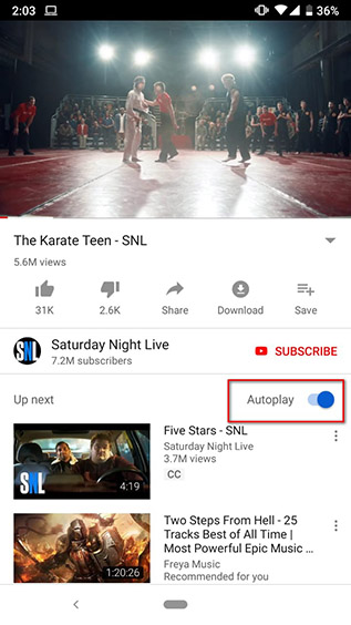 disabling autoplay on youtube android