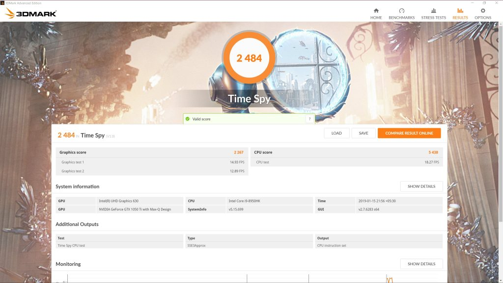 3DMark TimeSpy score for the Dell XPS 15 9570