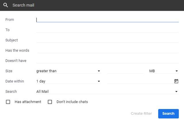 بحث متقدم في Gmail