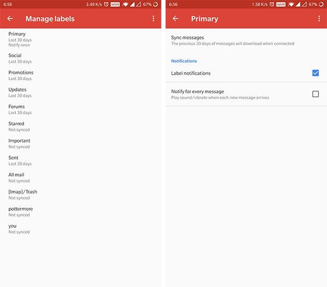 إشعارات تسمية Gmail Android
