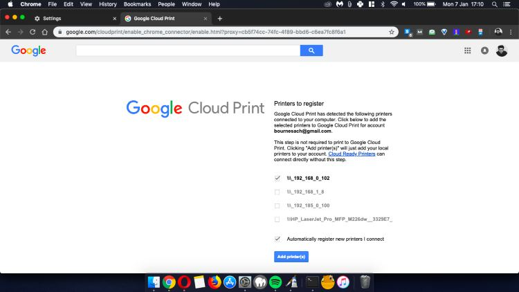 Google Cloud Print option