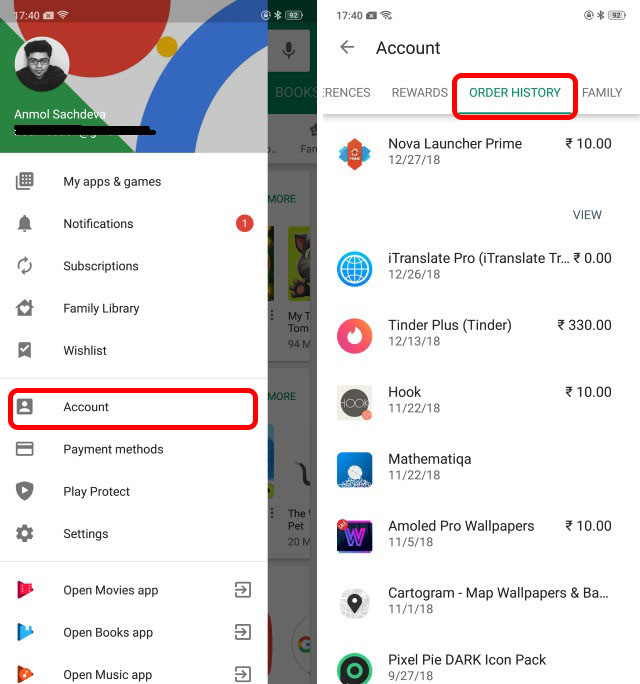 screenshot showing order history in play store