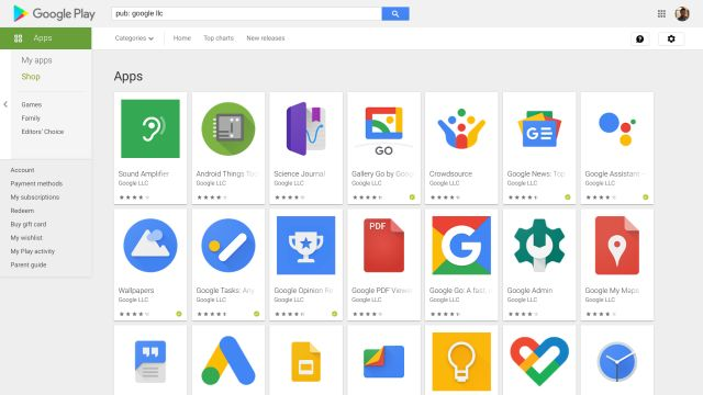 Search apps by developer