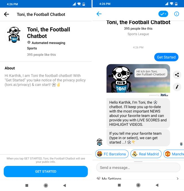 Toni Football chatbot