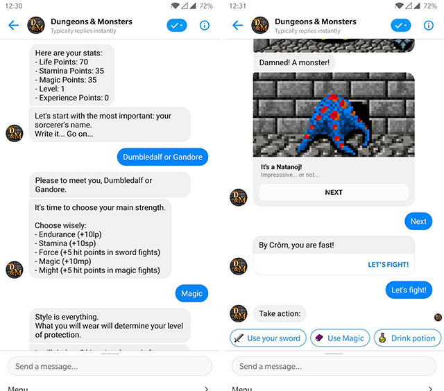 dungeons and monsters messenger bot screenshot