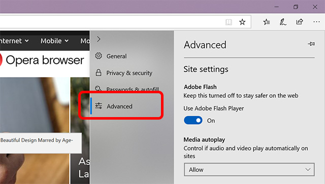 microsoft edge advanced settings