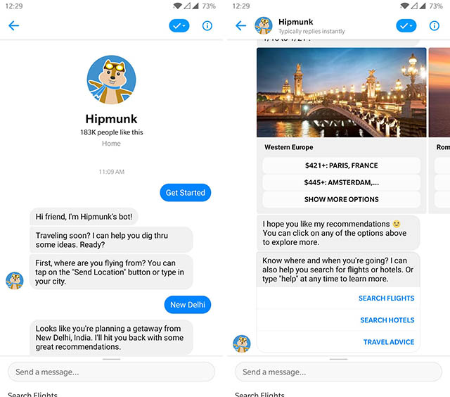 hipmunk messenger bot screenshot
