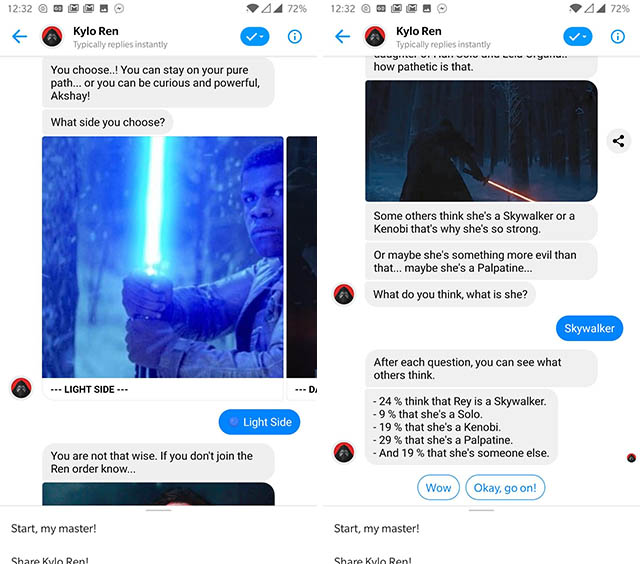 kylo ren messenger bot screenshot