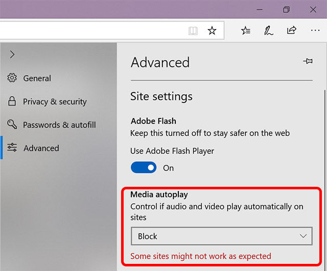 microsoft edge autoplay settings