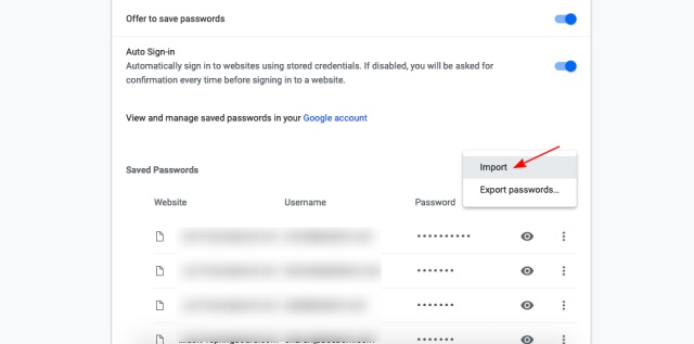 password import google chrome flag