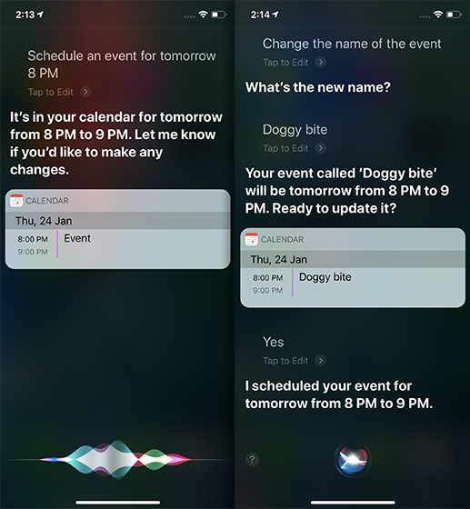 Siri Tricks for iOS 12 and macOS Mojave meeting calendar event