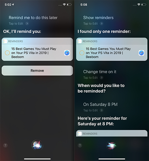 Siri Tricks for iOS 12 and macOS Mojave reminder