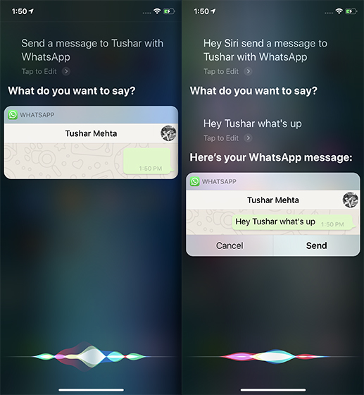 Siri Tricks for iOS 12 and macOS Mojave whatsapp
