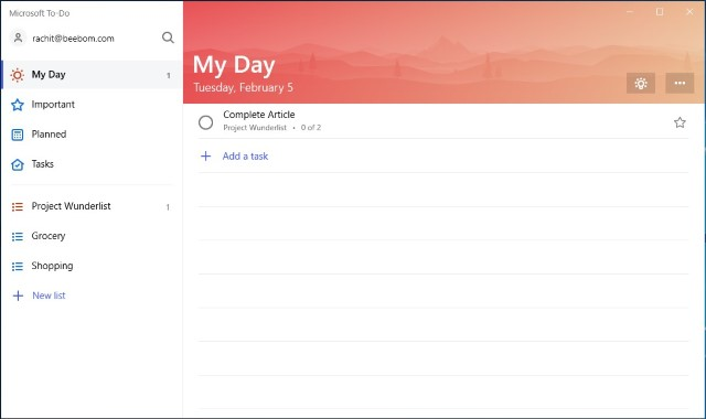 3. Microsoft To-do - Official wunderlist alternatives