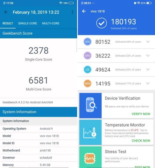 benchmarks - vivo v15 pro