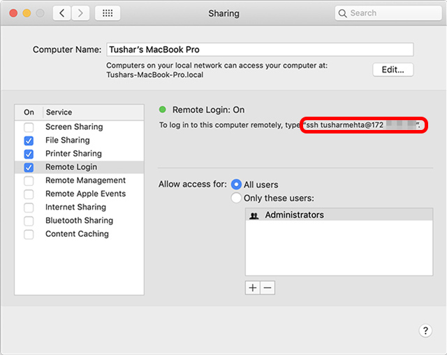 enable sharing all users mac