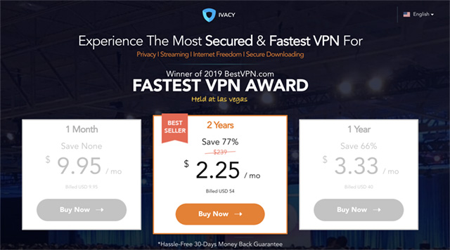 screenshot showing ivacy vpn pricing plans