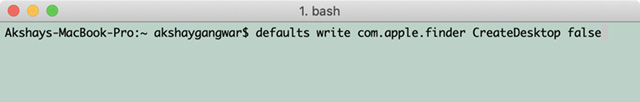 Screenshot des Terminalbefehls zum Ausblenden von Desktopsymbolen in macOS