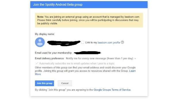 Joining spotify beta