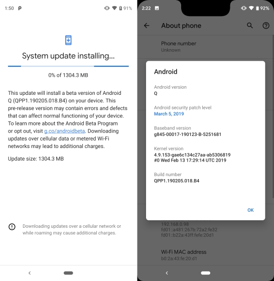 android Q beta 1 installed