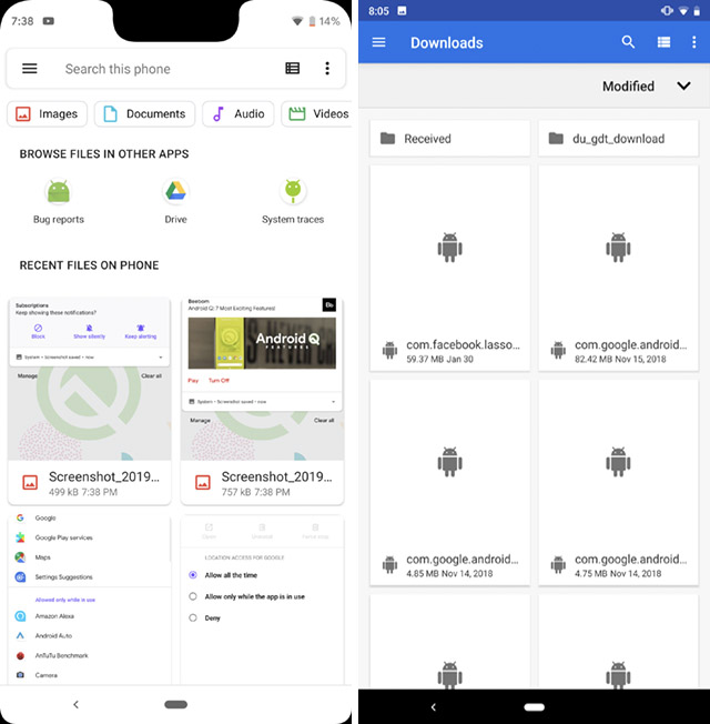 files app android q vs android pie