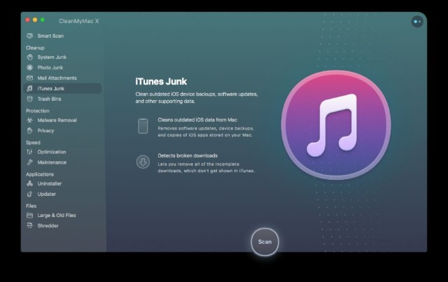iTunes junk CleanMyMac X