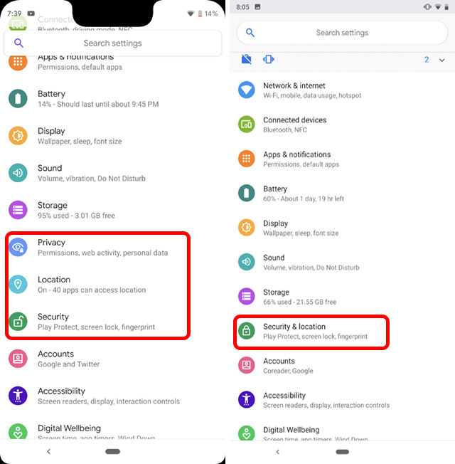 settings page revamped android q vs pie