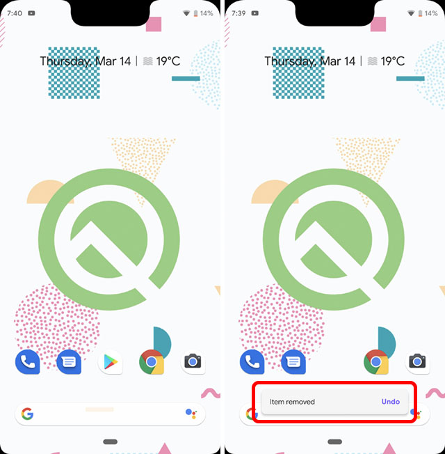 undo item removed from home screen android q